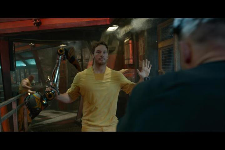 Chris Pratt and Dominic Grant in Guardians of the Galaxy (2014)
