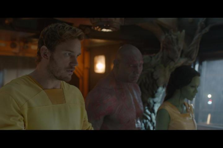 Vin Diesel, Chris Pratt, Zoe Saldana, and Dave Bautista in Guardians of the Galaxy (2014)