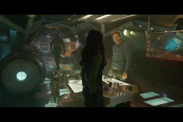 Bradley Cooper, Chris Pratt, Zoe Saldana, and Dave Bautista in Guardians of the Galaxy (2014)
