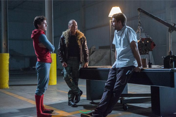 Michael Keaton, Jon Watts, and Tom Holland in Spider-Man: Homecoming (2017)