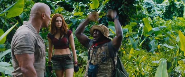 Kevin Hart, Dwayne Johnson, and Karen Gillan in Jumanji: Welcome to the Jungle (2017)