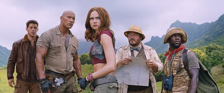Jack Black, Kevin Hart, Dwayne Johnson, Karen Gillan, and Nick Jonas in Jumanji: Welcome to the Jungle (2017)