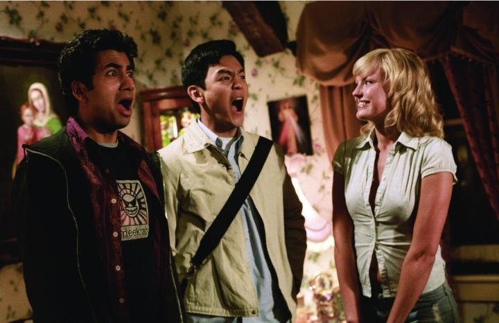 Malin Akerman, John Cho, and Kal Penn in Harold & Kumar Go to White Castle (2004)