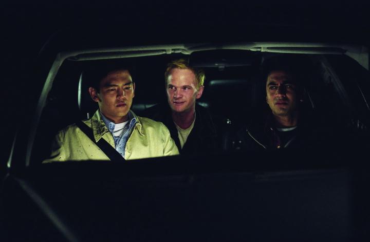 Neil Patrick Harris, John Cho, and Kal Penn in Harold & Kumar Go to White Castle (2004)
