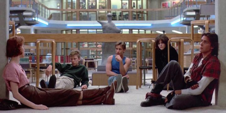 Molly Ringwald, Emilio Estevez, Judd Nelson, Ally Sheedy, and Anthony Michael Hall in The Breakfast Club (1985)