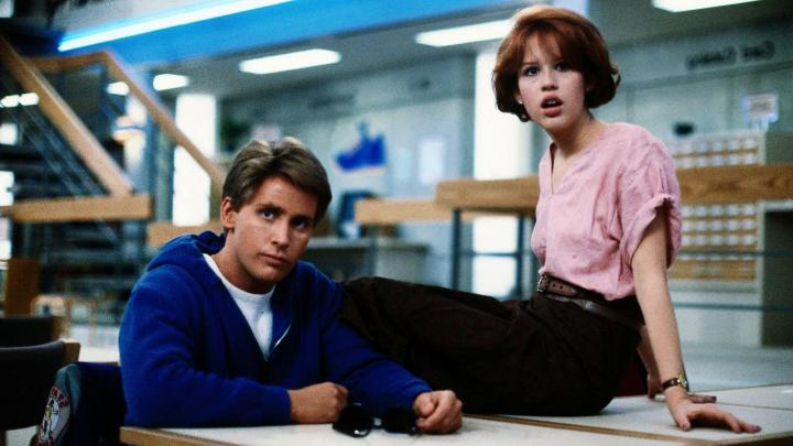 Molly Ringwald and Emilio Estevez in The Breakfast Club (1985)