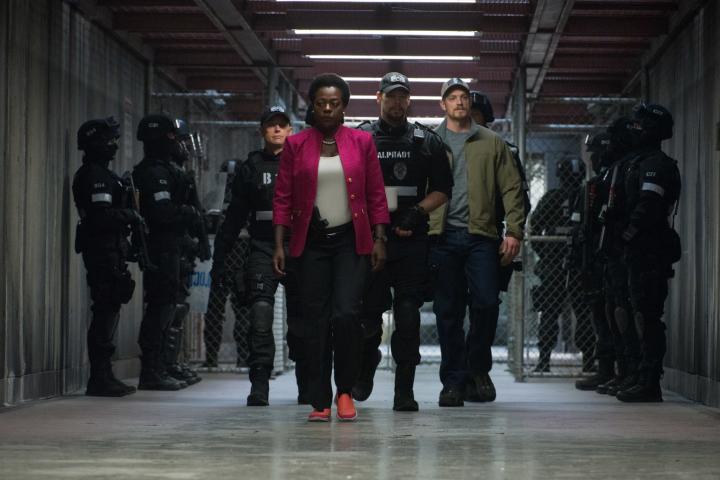 Ike Barinholtz, Viola Davis, and Joel Kinnaman in Suicide Squad (2016)