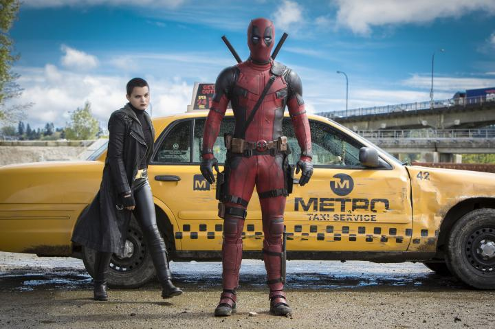 Ryan Reynolds and Brianna Hildebrand in Deadpool (2016)