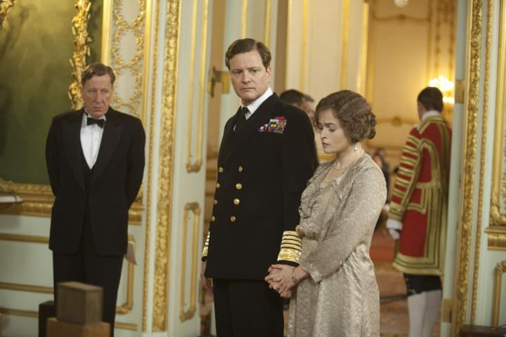 Colin Firth, Helena Bonham Carter, and Geoffrey Rush in The King's Speech (2010)
