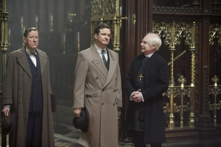 Colin Firth, Derek Jacobi, and Geoffrey Rush in The King's Speech (2010)