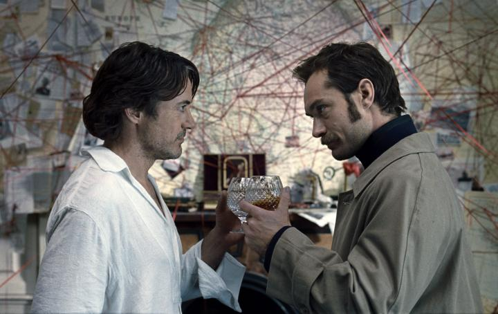 Jude Law and Robert Downey Jr. in Sherlock Holmes: A Game of Shadows (2011)
