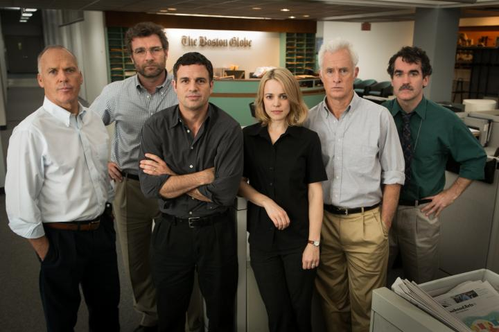 Michael Keaton, Liev Schreiber, Brian d'Arcy James, Mark Ruffalo, John Slattery, and Rachel McAdams in Spotlight (2015)