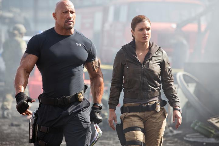 Dwayne Johnson and Gina Carano in Furious 6 (2013)
