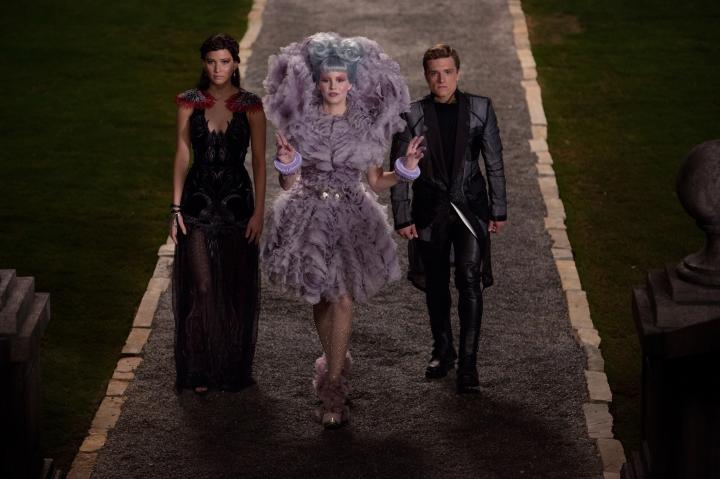 Elizabeth Banks, Josh Hutcherson, and Jennifer Lawrence in The Hunger Games: Catching Fire (2013)