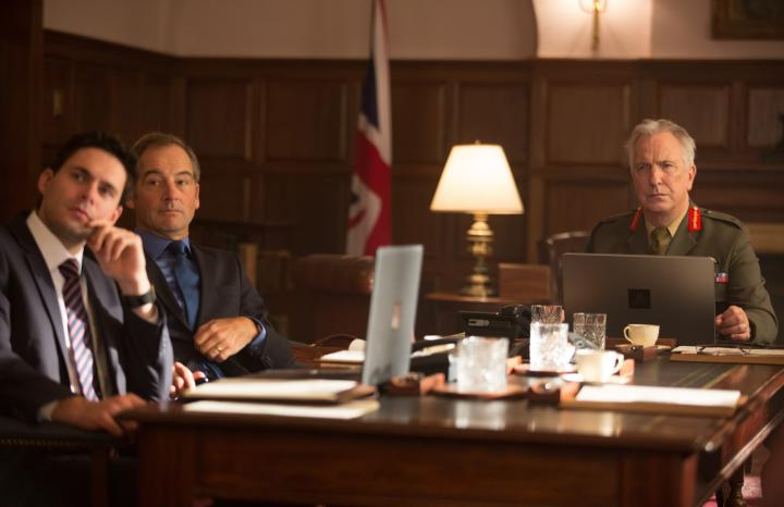 Jeremy Northam, Alan Rickman, and Francis Chouler in Eye in the Sky (2015)