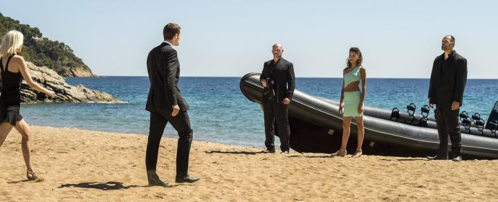 Noémie Lenoir, Ed Skrein, and Loan Chabanol in The Transporter Refueled (2015)