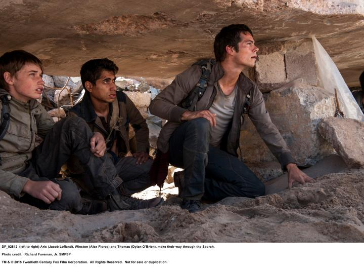 Alexander Flores, Dylan O'Brien, and Jacob Lofland in Maze Runner: The Scorch Trials (2015)