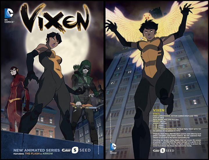 Megalyn Echikunwoke, Stephen Amell, and Grant Gustin in Vixen (2015)