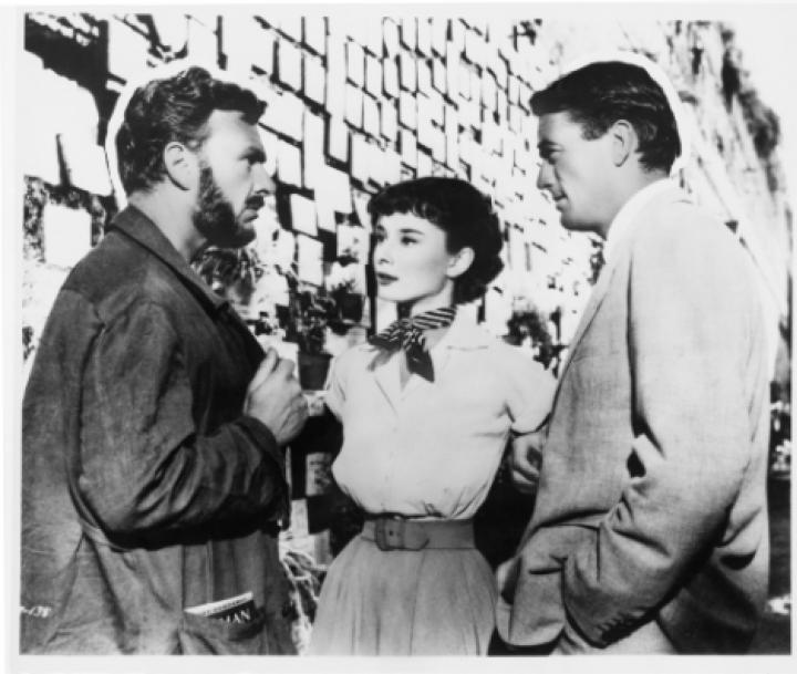 Audrey Hepburn, Gregory Peck, and Eddie Albert in Roman Holiday (1953)