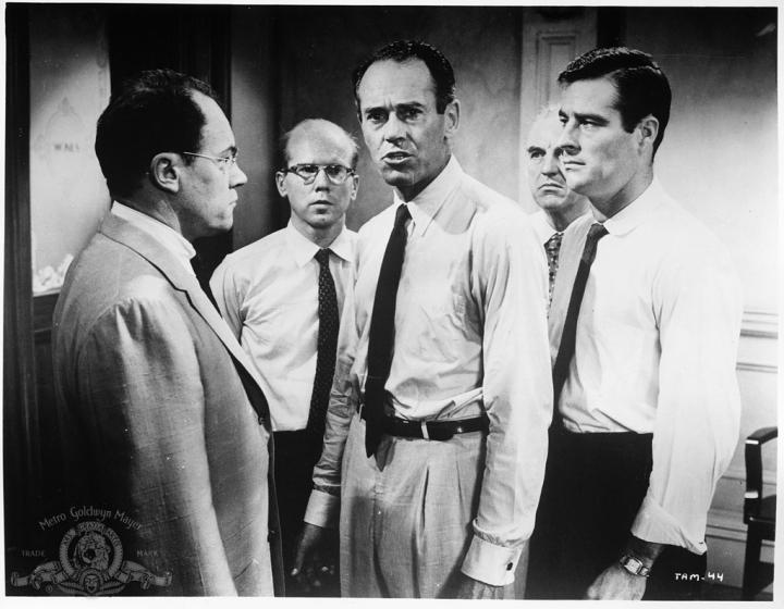 Henry Fonda, Ed Begley, John Fiedler, E.G. Marshall, and Robert Webber in 12 Angry Men (1957)