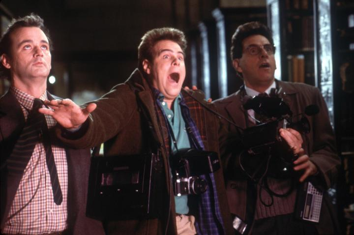 Dan Aykroyd, Bill Murray, and Harold Ramis in Ghostbusters (1984)