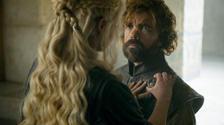 Peter Dinklage and Emilia Clarke in Game of Thrones (2011)