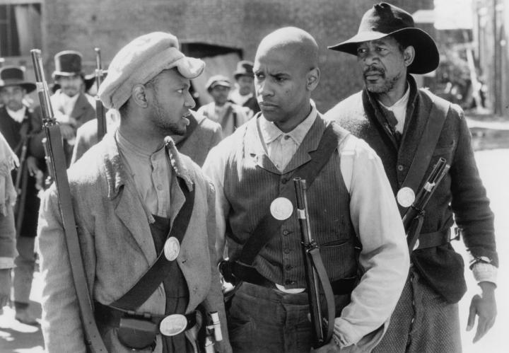 Morgan Freeman, Denzel Washington, and Jihmi Kennedy in Glory (1989)
